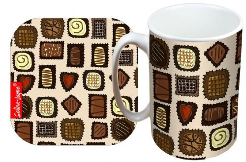 Selina-Jayne Chocolates Limited Edition Designer Mug and Coaster Gift Set